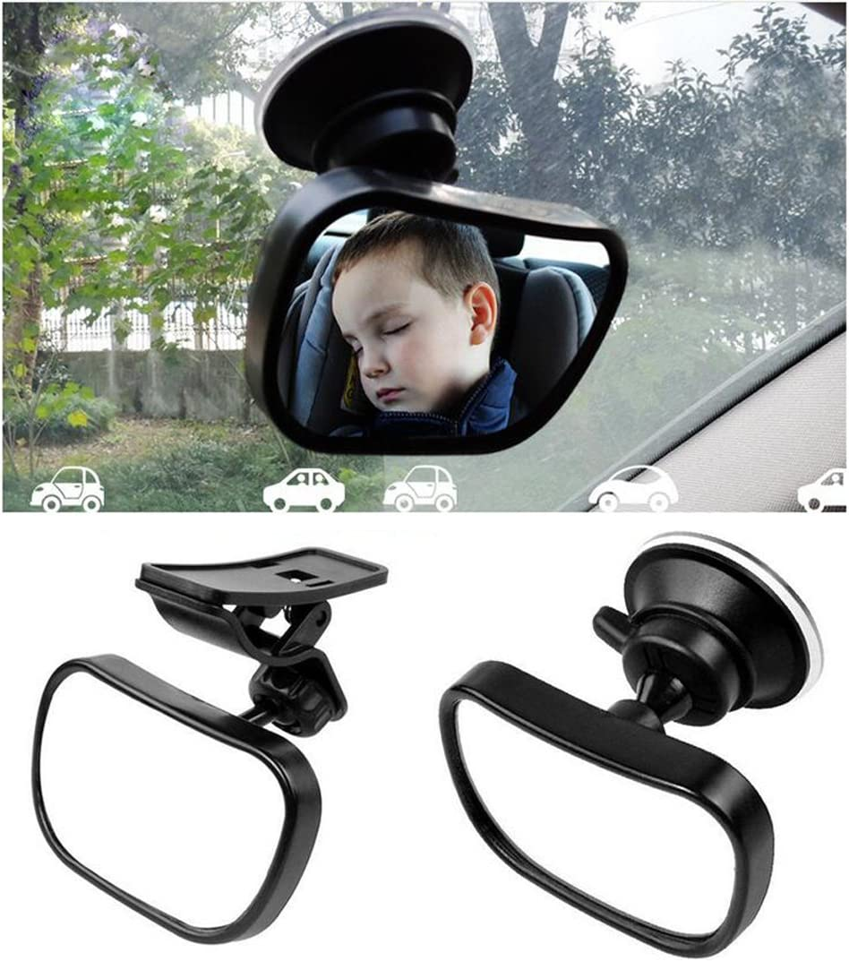 1 Set Baby Car Mirror Safety Car Seat Mirror Backseat Mirror Shatter-Proof Acrylic Rearview Baby Mirror Easily to Observe Safety and Adjustability(Black)