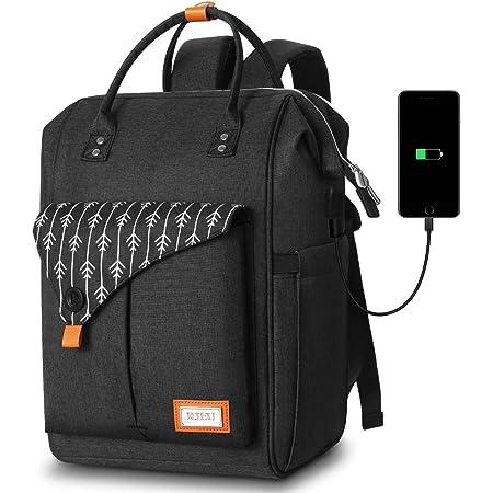 Rucksack Damen, Laptop Rucksack für 15.6 Zoll Laptop Schulrucksack mit USB Ladeanschluss für Arbeit Wandern Reisen Camping, für Mädchen, Oxford, 20-35L Schwarz