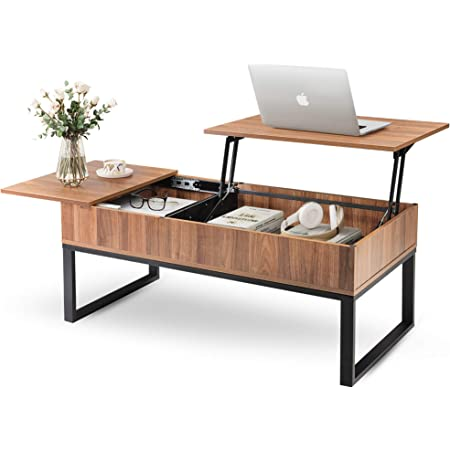 WLIVE Wood Lift Top Coffee Table with Hidden Storage Compartment, Side Drawer and Metal Frame, Lift Tabletop Dining Table for Home, Living Room, Office
