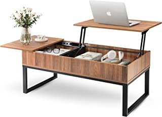 WLIVE Wood Lift Top Coffee Table with Hidden Storage Compartment, Side Drawer and Metal Frame, Lift Tabletop Dining Table ...