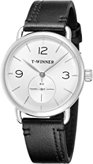 FORSINING Men's Hand-Wind Mechanical Simple Analog Dial Fashion Leather Strap Wrist Watch