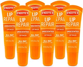 O'Keeffe's Unscented Lip Repair Lip Balm for Dry, Cracked Lips.35 Ounce Tube, (Pack of 6)