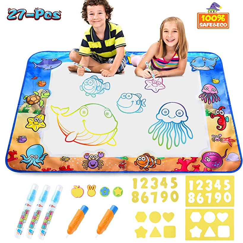 CPSYUB Aqua Magic Mat,Kids Toys with Colorful Aquadoodle Mat&Water Doodle Drawing Mat,Large Size 4028 inches Educational Toys for Age 1 2 3 4 5 6 7 8 9 10 11 Year Old Boys Girls Age Toddler Gift