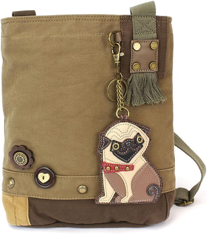 Chala Womens' Canvas Patch Crossbody Handbag  Pug   Olive