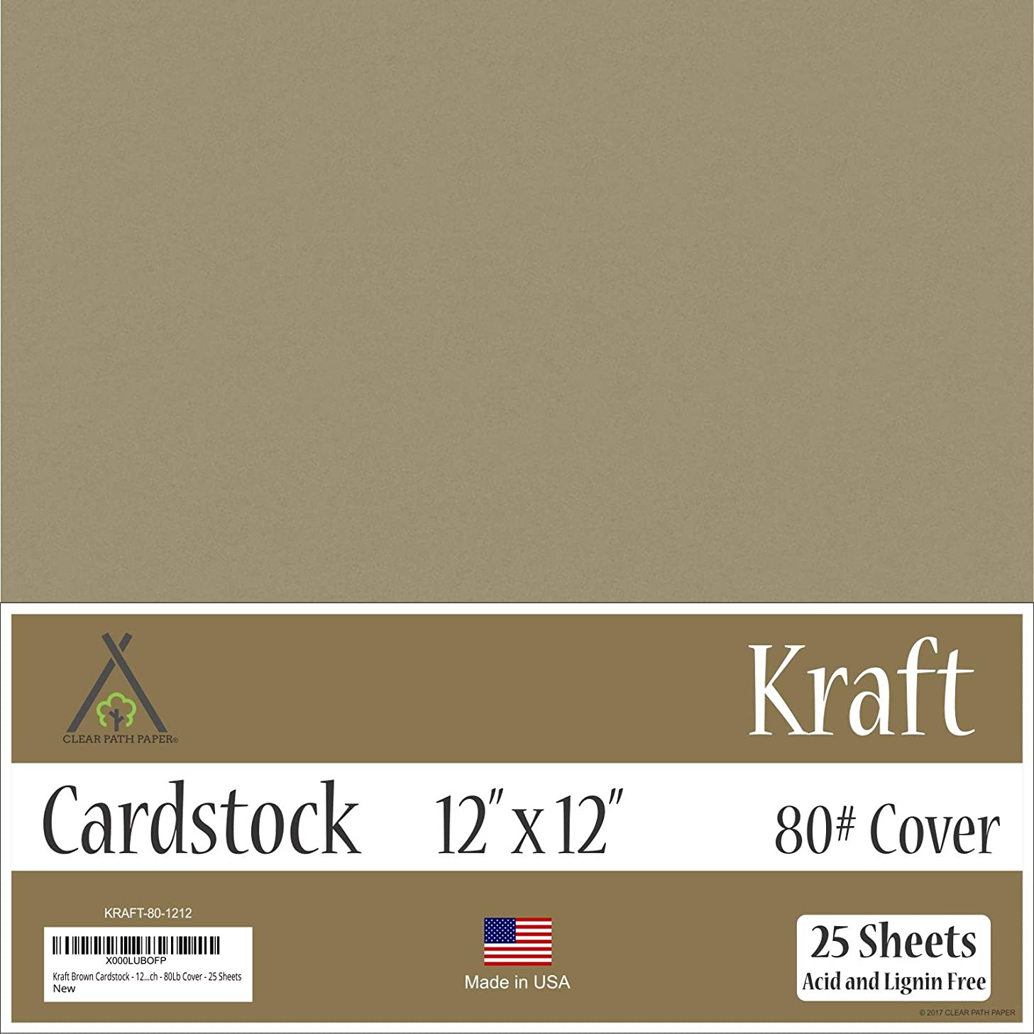 Kraft Brown Cardstock - 12 x 12 inch - 80Lb Cover - 25 Sheets