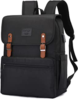 Laptop Backpack Men Women Business Travel Computer Backpack School College Bookbag Stylish Water Resistant Vintage Backpack with USB Port Fits 15.6 Inch Laptop and Notebook gold Black-upgrade 15.6 inches