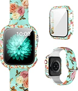 [1+1]Pack Compatible for Apple Watch Band with Case for Apple Watch 44mm Series 6/5/4/SE, Floral Printed Pattern Replacement Strap + Protective Case with Screen Protector for iWatch Accessories