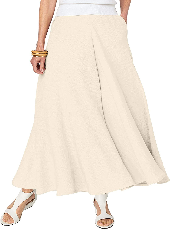 ANTHONY RICHARDS Linen-Like Skirt – Casual Long Midi Skirt with Elastic Waist