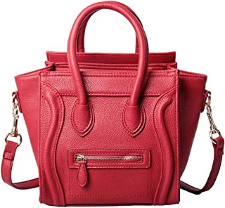 Handbags for Women,Women's Shoulder Bags PU Leather Handbags Top-Handle Purse For Ladies Smile Face Red