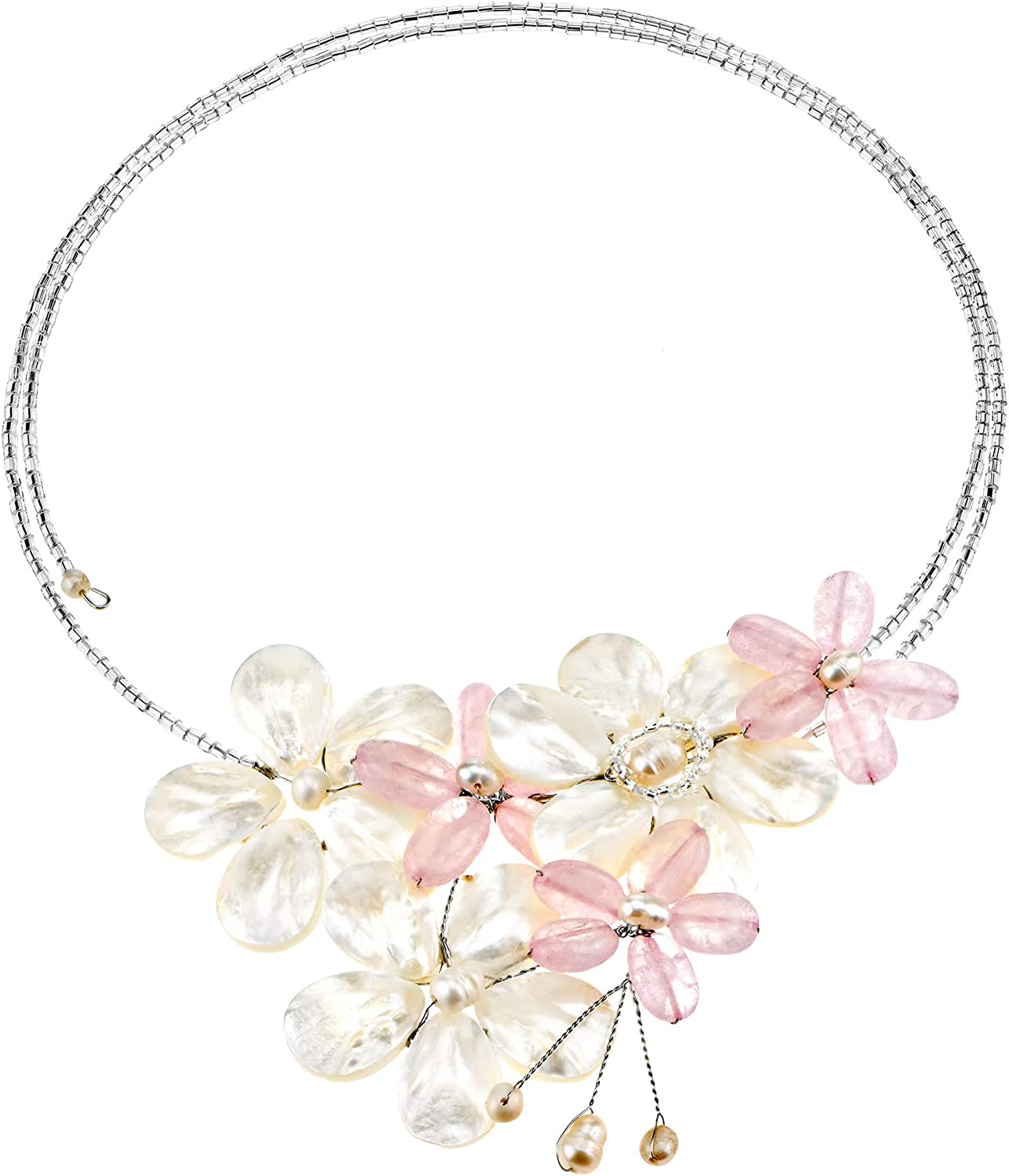 AeraVida Stunning Elegance Pink Glass and White Mother of Pearl Floral Choker Wrap Necklace