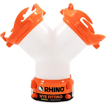 Camco RhinoFLEX RV Wye Fitting with 360 Degree Swivel Ends, Allows Sewer Hose and Lug Fittings Connection, Odor Protection (39812), Orange