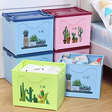 WPBOY Storage Box Plastic Storage Box with Lid Foldable Storage Bins for Clothes and Toys Organizer Containers Baskets Househ