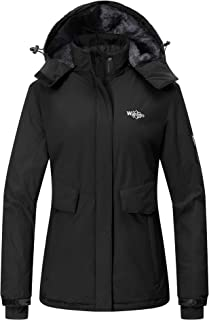 Wantdo Women's Hooded Winter Rain Jacket Waterproof Windproof Fleece Ski Jacket