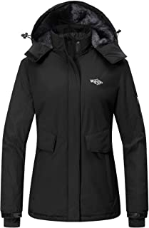 Wantdo Women's Hooded Winter Rain Jacket Waterproof Windproof Fleece Ski Jacket