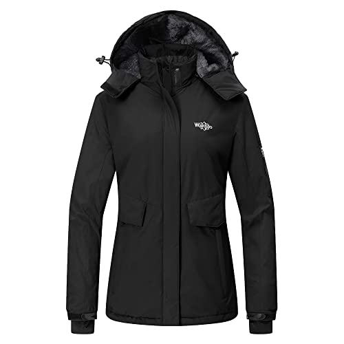 0671ed0ee06 Wantdo Women s Mountain Ski Fleece Jacket Waterproof Parka Windproof Warm  Winter Raincoat with Hood Outdoors