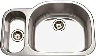 Houzer MG-3209SL-1 Medallion Designer Series Undermount Stainless Steel 80/20 Double Bowl Kitchen Sink Small Bowl Left