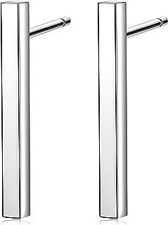 Sterling Silver Minimal Bar Earring Small Post Drop Line Dangle Ear Stick Stud Earrings Geometric jewelry for Women Men