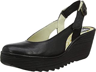 0d23193a Fly London Womens Ylux Mousse Wedge Leather Closed Toe Slingback Shoes