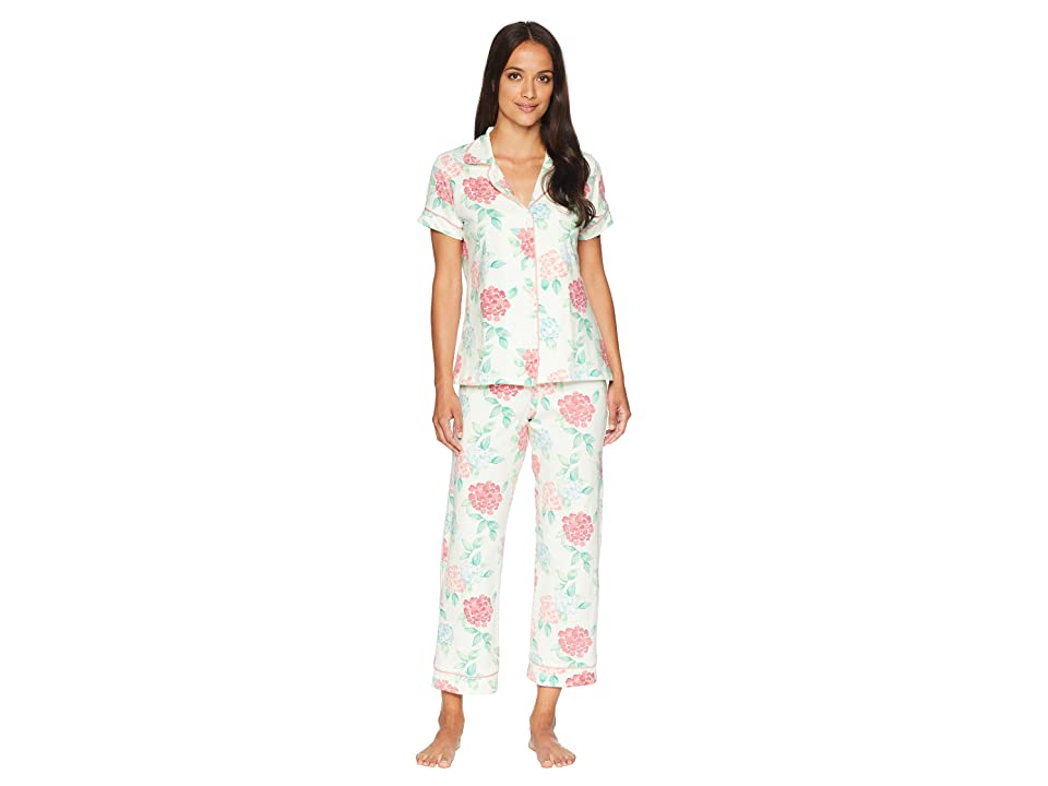 BedHead Short Sleeve Classic Cropped Pants Two-Piece Pajama Set (Ivory Painted Hydrangea) Women