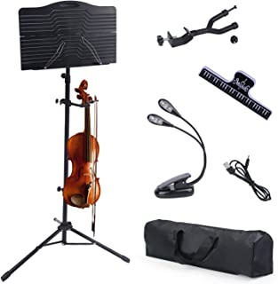 Klvied Sheet Music Stand with Violin Hanger, Portable Folding violin Stand, Foldable Music Stand for Sheet Music with Carrying Bag, Light, Black
