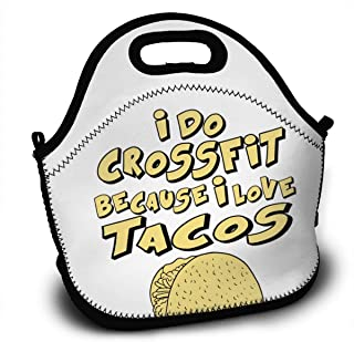 DONA I Do Crossfit Because I Love TacosLunch Bag School Picnic Carrying Lunchbox Container Organizer For Men, Women, Adults, Kids, Girls, Boys (Sloth)