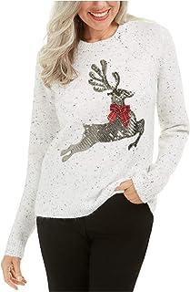 KAREN SCOTT Womens White Speckle Long Sleeve Crew Neck Sweater Petites US Size: PP