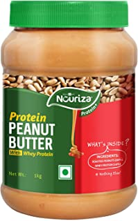 Nouriza High-Protein Natural Peanut Butter with Added Whey Protein, Unsweetened, Crunchy, 1 Kg