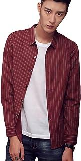 DeBangNi メンズ yシャツ 長袖シャツ 春 薄手 ワイシャツ ストライプ スリム 着痩せ 通勤 ビジネス トップス カジュアル 韓国風 ハンサム