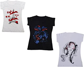 IndiWeaves Womens Pure Cotton Half Sleeves Printed T-Shirt(Pack of 3)(310042122-IW-P3-L_Multicolor_Large)