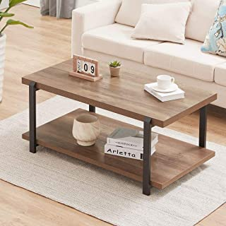 FOLUBAN Industrial Coffee Table with Shelf, Wood and Metal Rustic Cocktail Table for Living Room, Oak