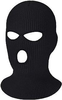 H HOME-MART Beanie Hat, 3 Hole Beanie Face Mask Ski-Warm Knit-Men and Women Black