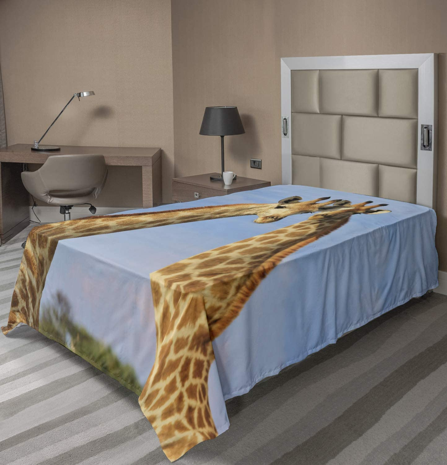 Ambesonne Giraffe New item Flat Sheet Photo Animal Clouds Couple 67% OFF of fixed price Wild
