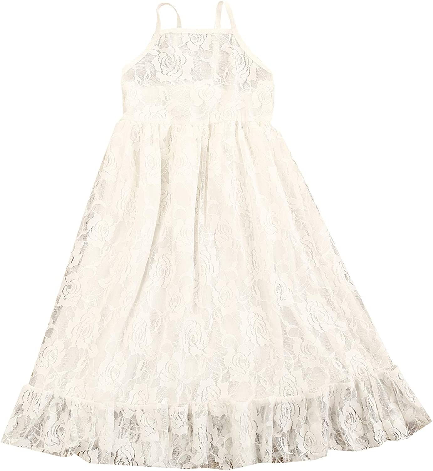 Girls' Special Occasion Dresses Girls Flower Vintage Floral Lace Dress Wedding Party Evening Formal Pegeant Dance Gown