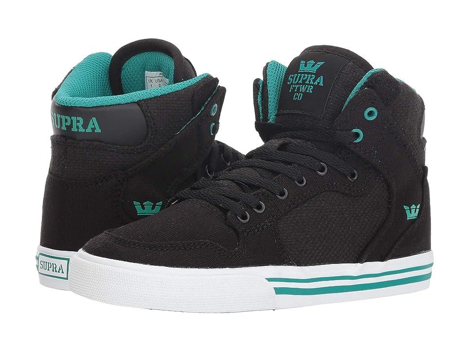 Supra Kids Vaider (Little Kid/Big Kid) (Black/Teal/White) Boys Shoes