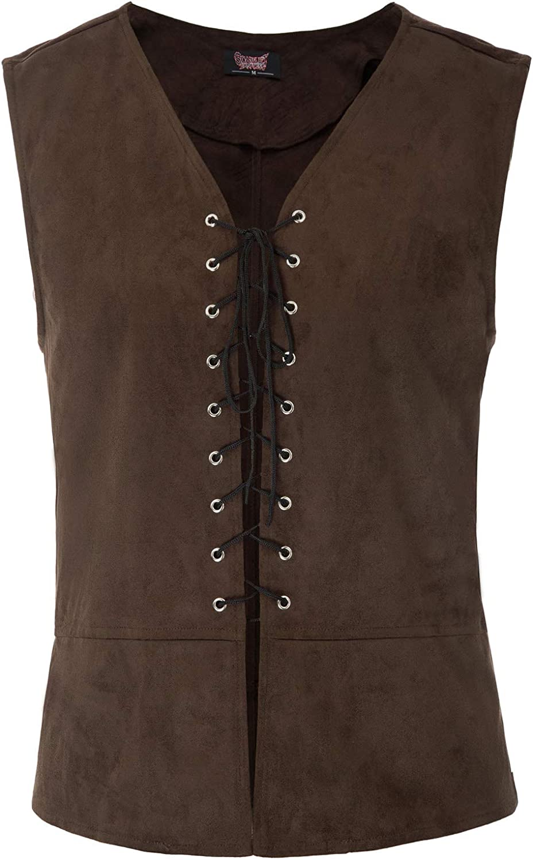 SCARLET DARKNESS Mens Renaissance Steampunk Lace-up Vest Gothic Waistcoat
