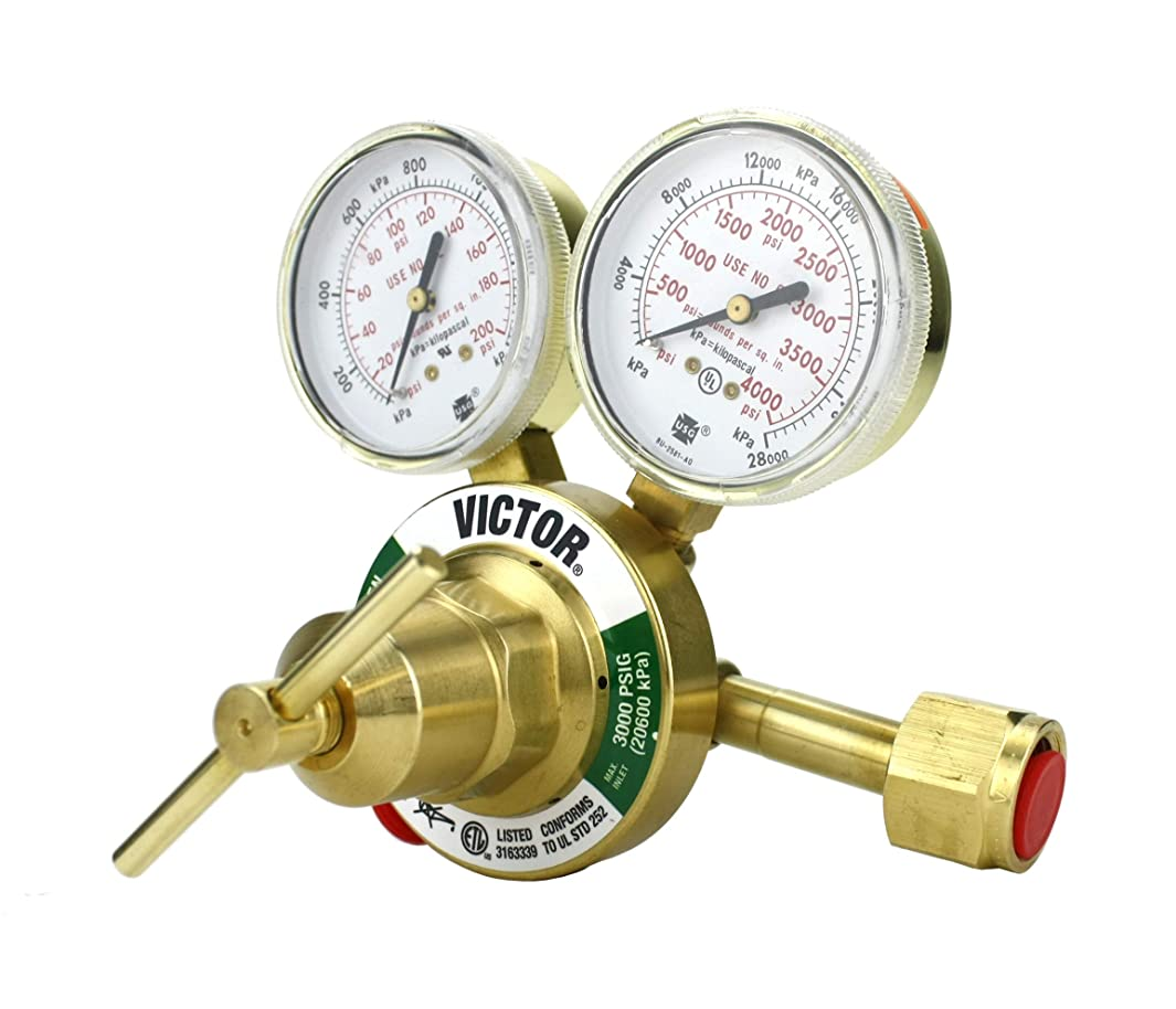 VICTOR Heavy Duty Oxygen Regulator Model: 350-125-540 - Delivery Rate: 5-125 psi - CGA-540 - Full Brass - Genuine Victor