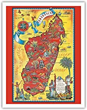 Madagascar - Map - Africa Island - Vintage Illustrated Pictorial Map by Maurice Tranchant c.1952 - Fine Art Print - 11in x 14in