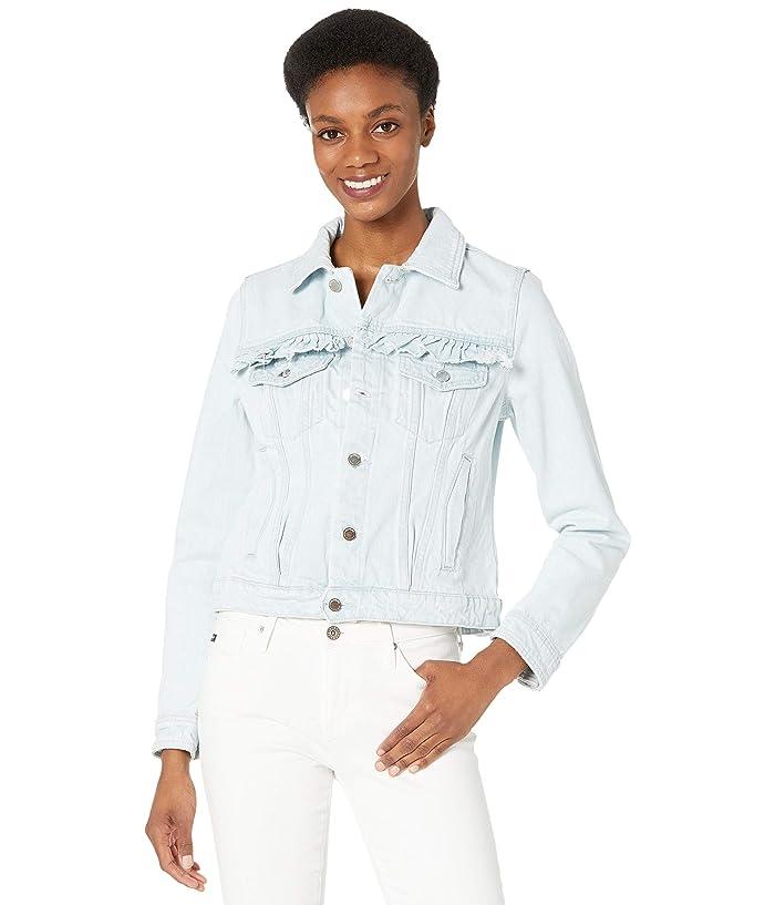Blank NYC Ruffle Denim Trucker Jacket Women's Clothing