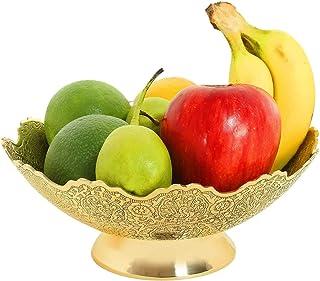 "PARIJAT HANDICRAFT برش تزئینی میوه خشک میوه کاسه کار - اندازه 9 ""زیبا طلایی رنگ طاووس طاووس هدیه ظروف آشپزخانه"