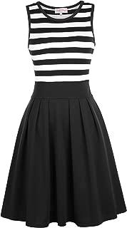 Women's Classy Scoop Neck Striped Retro Swing Dress