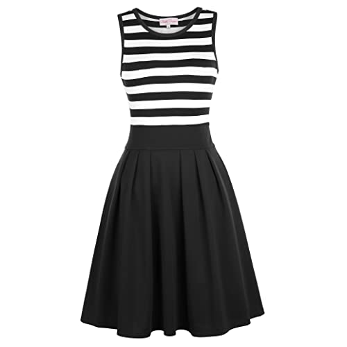 ea4d777af919 Belle Poque Women's Classy Scoop Neck Striped Retro Swing Dress