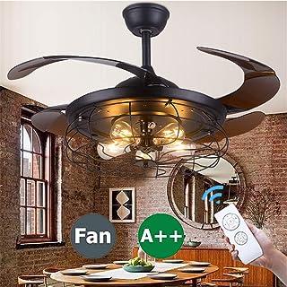 Ventilador de techo con iluminación LED tranquila control remoto, lámpara retro ajustable puede lámpara techo tiempo 3 velocidades lámpara para vivir comedor dormitorio lámpara de habitación colgando