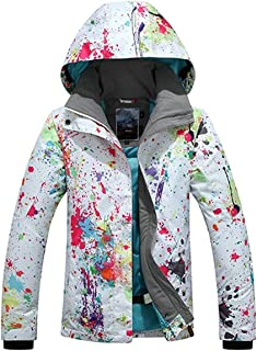 RIUIYELE Women's Fashion High Windproof Waterproof Snowsuit Colorful Printed Ski Jacket Pants