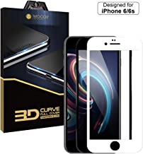"""MOCOLL 3D Curved Edge Full Cover Tempered Screen Protector for iPhone 6/6s Screen Protector Films Tempered Glass Cover Shield Ultra Clear Anti-Scratch MFi-Certified Screen Size 4.7"""" White"""