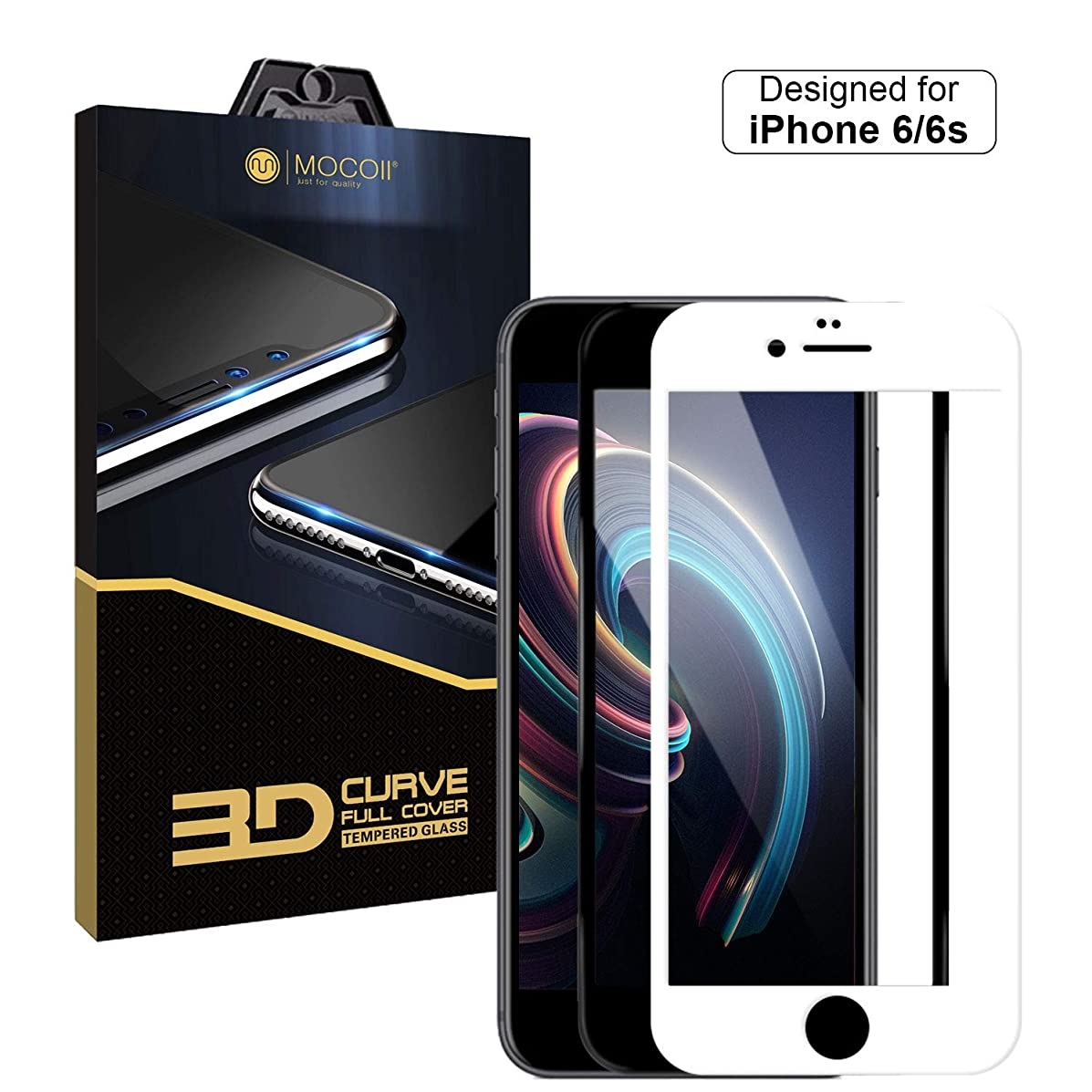 """MOCOLL 3D Curved Edge Full Cover Tempered Screen Protector for iPhone 6 Plus/ 6s Plus Screen Protector Tempered Glass Cover Shield Ultra Clear Anti-Scratch Screen Size 5.5"""" White"""