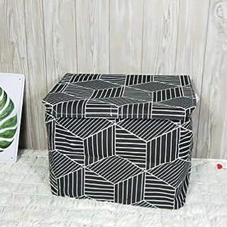 MJY Panier à linge, rayure couverte Panier à linge Boîte de rangement de bureau Linge Coton Organisateur Vêtements Panier ...