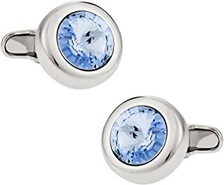 Crystal Solitaire Cufflinks in Light Blue Sapphire