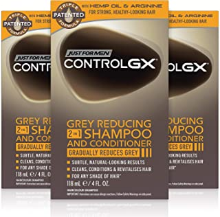 Just For Men Control GX Grey Reducing 2 in 1 Shampoo and Conditioner, Gradually Colors Hair, 4 Ounce, Pack of 3