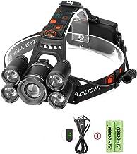 چراغ های چراغ، Neolight سوپر روشن 5 LED بالا پروانه قابل شارژ قابل شارژ Zoomable ضد آب سر چراغ مشعل برای Outdoor پیاده روی کمپینگ شکار ماهیگیری دوچرخه سواری پیاده روی در حال اجرا