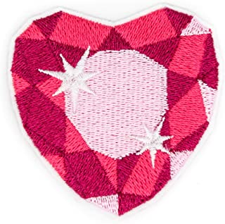Pink Crystal Heart Embroidered Patch with Iron on Adhesive